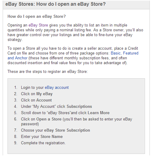 how to create an online store on ebay